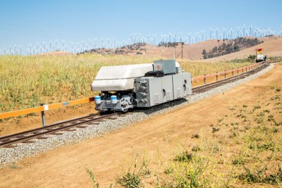 Picture: ARES automated Pilot Project Shuttle Unit operating in Tehachapi, CA on 9% grade electrified rail